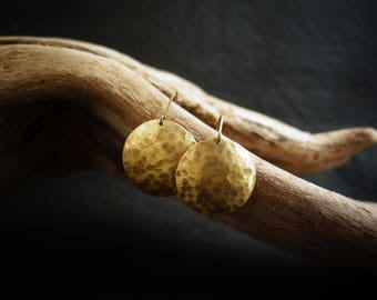 Earrings Brass Gold Round hammered