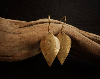 Earrings Brass Gold long hammered