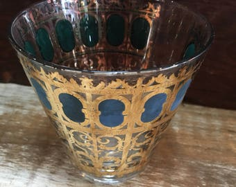 Set of 6 glasses vintage gold rim rock glasses, mad men era