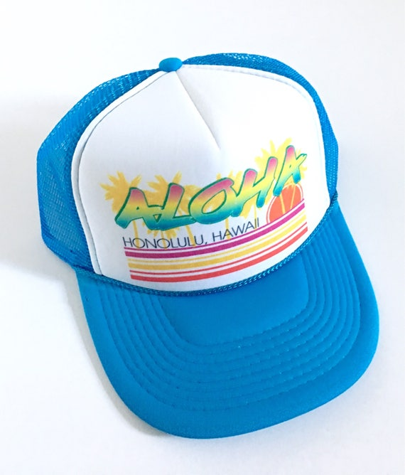 Vintage Aloha Trucker Hat Blue or Green Screen Print| Aloha Hat| Hawaii Hat| 80s Hat| ombre | Beach Hat| Vintage style| blue Hat