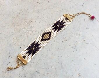 Ethnic Cuff Bracelet woven beads