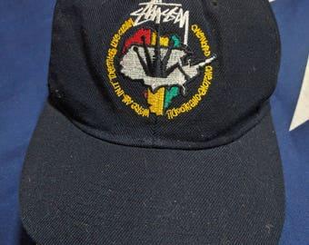 vintage 90s stussy newyork feelin'irie snapback cap hat rare!!
