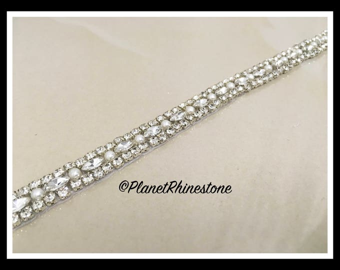 1 Yard Iron-on Embellished Rhinestone Pearl Bridal Trim #I-12