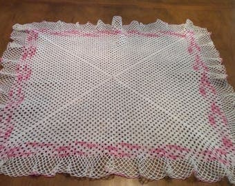 Vintage Square Shaped Centerpiece Crocheted Doiley, Dresser Scarf, Pink, Ruffled Edge, Shabby Chic, Cottage Chic, Romantic Decor, Romantic