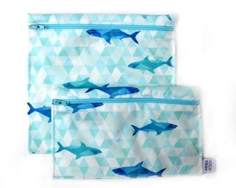 Reusable snack bags - one snack bag one sandwich bag - sharks - Sacs à sandwich et collation réutilisables