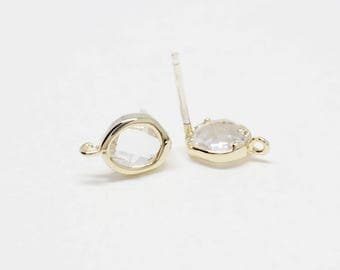 E0170/Anti-Tarnished Gold Plating Over Brass /Crystal/Reverse Drop Crystal Glass Stud Earrings/7x10mm/2pcs