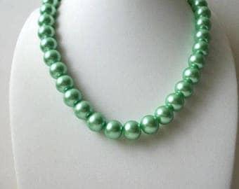 ON SALE Vintage Metallic Glass Pearls Shorter Length Heavier Necklace 91217