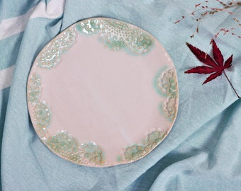 Small plate mint white-plate with lace ornament-plate mint and white-wedding tableware-utensils mint and white