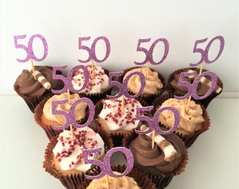 Cupcake Number Toppers, 50th Birthday Numbers, Fiftieth, Golden Anniversary, Set of 10 Glitter Picks, Party Decoration, Party Accessories