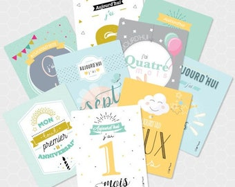 Kit steps - baby's first year cards
