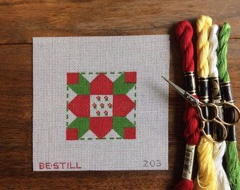 Christmas flower: a hand-painted needlepoint canvas