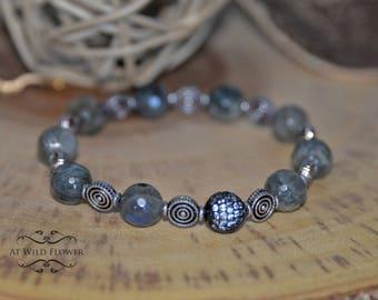 Women's Bracelet, Gift for Her, Gift Ideas, Labradorite Bracelet, Beaded Bracelet, Gemstone Bracelet, Fancy Bracelet, Boho chic, Bracelet