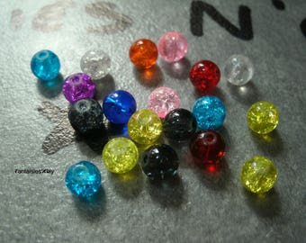 (PV2) Set of 20 lovely multi-color 6mm Crackle glass beads