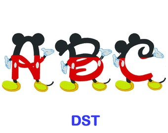 Mickey Mouse Embroidery Font - Disney - DST Format Embroidery Alphabet - Embroidery Letters - Brother - Machine Embroidery Designs Patterns