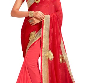 Indian Designer Red And Peach Colored Georgette, Chiffon And Rasal Net Saree Formal Bridal Saree Party Wear Saree for Women