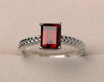 Engagement ring, natural garnet ring, emerald cut red gemstone, January birthstone, solitaire ring, sterling silver ring