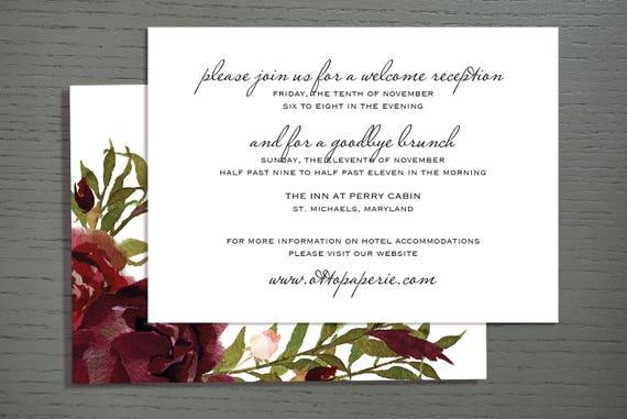 Perry Cabin Wedding Invitation - Information Card
