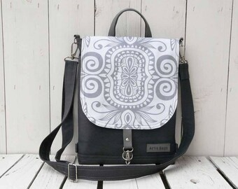 Custom Waterproof Backpack, Grey Hipster Backpack, Festival Rucksack, Student Backpack, Mandala Crossbody Bag, School SHoulder Bag