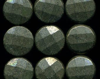 9 pyrite (002), faceted, size 14 x 6 mm beads