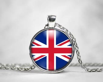 Union Jack, UK Flag, 25mm Round Pendant, Gifts For Her, British Flag, Great Britain, Union Flag, World Flags