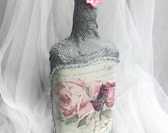 Decoupage.Wine Glass Bottle.Decorated Bottle.Home Decor.Table Display.Centerpiece.Vase.Flower Bottle.Unique Gift.Display.Custom.Glass Art.