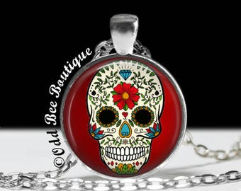 Classic Sugar Skull on Red Necklace-Day of the Dead, Dia De Los Meurtos, Skull, Tattoo Inspired, Retro, Rockabilly, Gothic Pendant