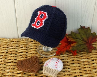 Baseball Hat with Glove and Ball Mittens, Baby baseball MITTENS, Boston RED Sox inspired (Handmade by me and not affiliated with the MLB)