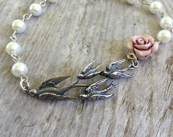 Mother bird rosary bracelet,Miraculous Medal,Catholic bracelet