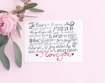 Valentine Card - I Love You - Long Distance Relationship, Anniversary Card,
