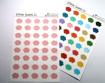Pink Piggy Bank Planner Stickers