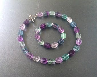Knotted Sterling Silver Vintage Natural Rainbow Fluorite Carved Chinese Shou Longevity Symbol Beaded Necklace