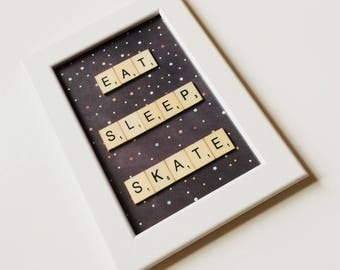 Eat Sleep Skate | Roller Derby | Skater | Roller Skate | Derby Life | Skateboard | Friends | Home | Gift | Scrabble | Retro
