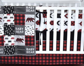 Baby Bear Crib Bedding, Lumberjack bedding, woodland nursery, red buffalo plaid, red and black , modern nursery, quilt, bumpers, deer, skirt