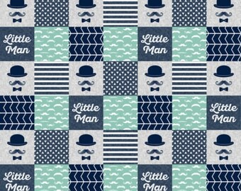 Little Man Crib Quilt, Toddler quilt, Minky Quilt, mustache, baby boy,