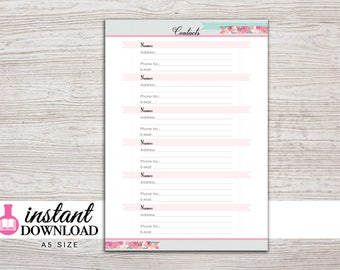 A5 Planner Printable - Contacts - Address Book - Filofax A5 - Kikki K Large - Design: Flirty Girl