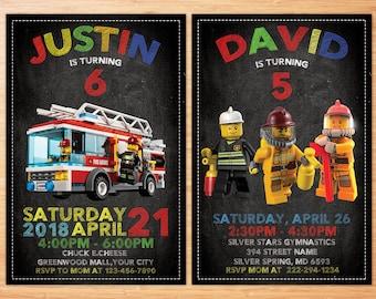 Lego City invitation Lego City birthday invitation Lego City