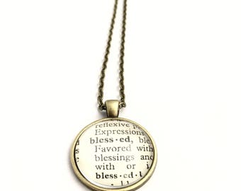 BLESSED Vintage Dictionary Word Pendant