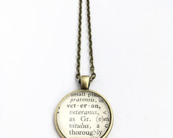 VETERAN Vintage Dictionary Word Pendant