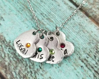 Mother necklace, mama necklace, birthstone necklace, name necklace, gift for mom, gift for grandma, gift for her, family jewelry