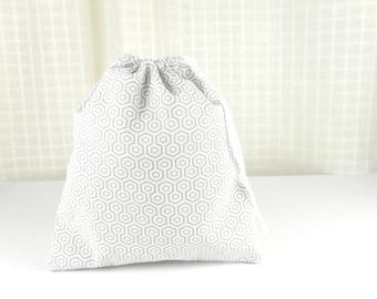 Reusable drawstring cotton gift bag, white and gray motif geometric