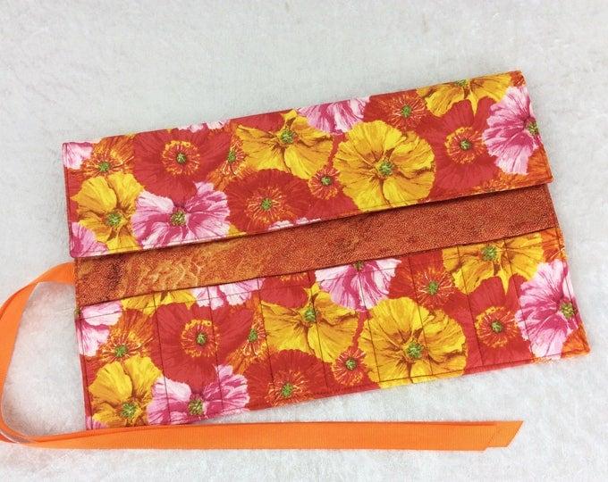 Flowers Makeup Pen Pencil Roll Crochet Knitting needles tool holder case  Handmade in England