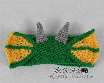 Crochet Pattern- Dragon Crochet Pattern  - Ear Warmer Pattern - Dragon Headband Pattern - Crochet Headband Pattern - Instant Download