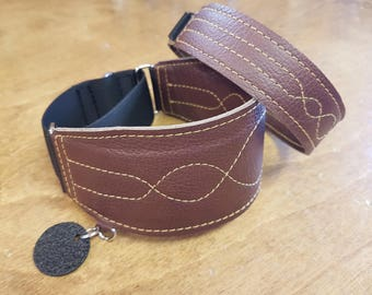 Custom leather greyhound martingale + tag collar set - WAVE pattern