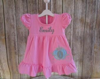 Girl Personalized Dress-Girl Monogrammed Dress-Girl Birthday Dress-Girl Pink Dress-Custom Boutique Dress-Princess Carriage-Princess Dress