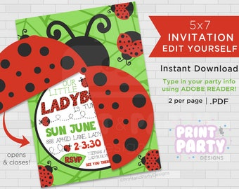 Printable Girls's Ladybug Birthday Party Invitations, Summer Ladybug Party, 5x7 Ladybug Invitations, Edit Yourself, Instant Download
