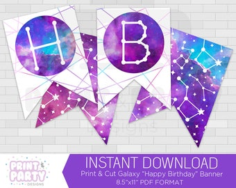 Printable Galaxy Happy Birthday Banner, Galaxy Birthday Party, Teen Galaxy Birthday Party, Outer Space Birthday, Instant Download