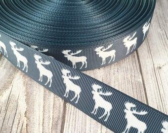 "Moose ribbon - 7/8"" Grosgrain ribbon - Blue and white - Animal ribbon - Crafting ribbon - Moose crafts - Moose theme - Hair bow ribbon"