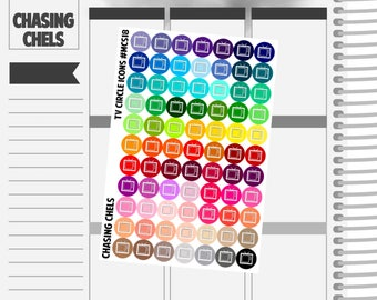 TV Circle Icons #MCS18 Premium Matte Planner Stickers
