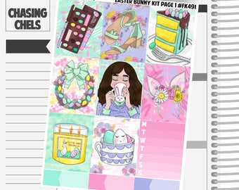 Easter Bunny Collection #FK491-497 Premium Matte Planner Stickers