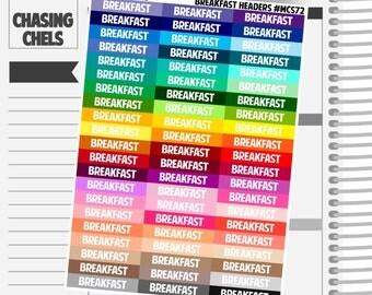 Breakfast Headers #MCS72 Premium Matte Planner Stickers
